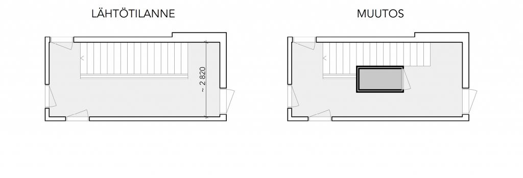 Pohjakuva, ratkaisu 1B - ennen ja jälkeen